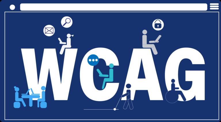 Niebieski piktogram z napisem WCAG. Ikony osób z laptopami wokół.